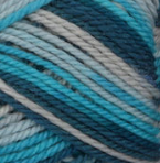 Seabreeze Ombre (teal, azure, pale grey) swatch of Patons Classic Wool Worsted