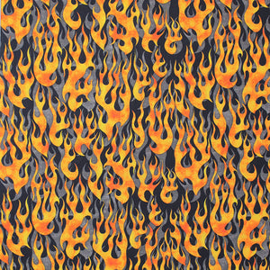 Square swatch fire alarm fabric (black fabric with orange/yellow flames layered over grey flames)