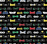 Swatch of black superhero themed quilting cotton.  Rows of small eye masks in a variety of sizes and styles, all featuring white outlines and in primary shades of red, green, yellow and blue.