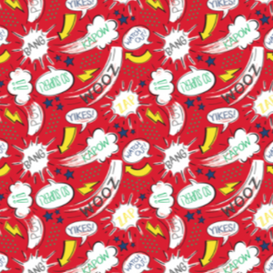 "Swatch of printed red superhero themed quilting cotton.  Phrases such as ""ZOOM"", ""YIKES!"", ""KAPOW"", ""BANG"", ""WATCH OUT"", and ""ZAP"" are scattered in white speech bubbles, thought bubbles and star bursts, mixed with yellow arrows and lighting bolts, and blue stars."