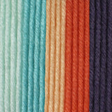 Blushing Coral colourway (light blue, mid blue, peach, coral, faded denim)
