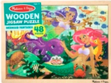 48-piece wooden jigsaw puzzle in packaging in style mermaid fantasy (cartoon pink and purple haired mermaids with friendly sea creatures)