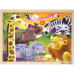 Completed 24-piece wooden jigsaw puzzle in style African Plains (sunset background with cartoon animals)