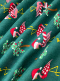 Swirled swatch winter themed flannel in Christmas flamingo (sweater/scarf and santa hat wearing flamingos with decorated palm trees on dark green)