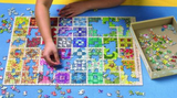Blue puzzle roll away mat in use (flat)