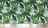 Flat swatch layered pot leaf print fabric in white