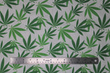 Flat swatch pot leaf print fabric on white