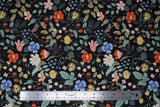 Flat swatch Strawberry Fields collection floral printed fabric in black meadow (multi-coloured floral and strawberries on black)
