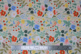 Flat swatch Strawberry Fields collection floral printed fabric in white meadow (multi-coloured floral and strawberries on white)