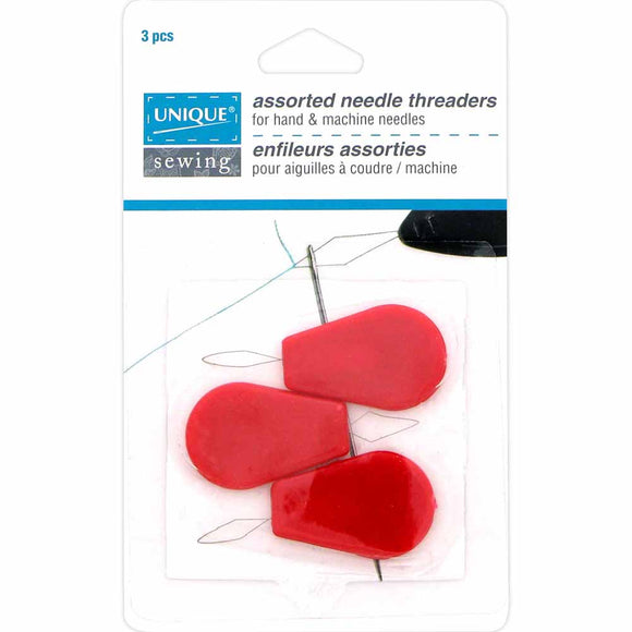 Pack of 3 plastic needle threaders (red)
