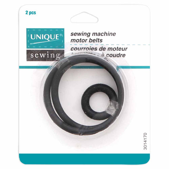Set of 2 sewing machine motor belts in packaging