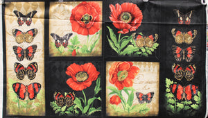 Group swatch assorted poppy themed fabric in various styles and colours