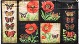 Full panel swatch poppies & butterflies panel (black fabric rectangle with subtle alternating darkest grey and black diamond pattern tiled, two long and skinny panels on either side in beige and black with four red butterflies and greenery at the bottom, 4 squares in the middle 2 beige, 2 black with red poppies with stems and a butterfly in each)
