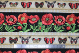 Flat swatch fabric poppies & butterflies stripe (beige stripe with assorted red/black/yellow butterflies and white with beige diamond borders, thick black stripes with red poppies and stems, 2 patterns repeated in stripes)