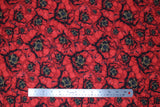 Flat swatch fabric red layered poppies (red/black/yellow layered poppy heads allover)