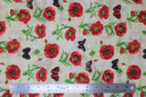 Flat swatch fabric poppies & butterflies tossed white (white fabric with tossed red poppies with green stems and red/black butterflies)