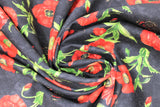 Swirled swatch fabric poppies & butterflies tossed black (black fabric with tossed red poppies with green stems and red/black butterflies)