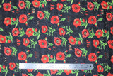 Flat swatch fabric poppies & butterflies tossed black (black fabric with tossed red poppies with green stems and red/black butterflies)