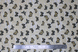 Flat swatch fabric tossed butterflies white (white fabric with small and medium tossed butterflies in black, beige, and blue shades)
