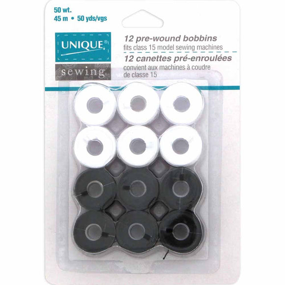 Package of 12 pre-wound bobbins (6 white, 6 black)