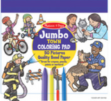 """Jumbo TOWN COLORiNG PAD"" ""50 Pictures"" ""Quality Bonded Paper"". Text on a purple and yellow circle with coloured line drawings of community roles such as firefighter and doctor, and crayon, marker, pencil and paint brush on top at the bottom."