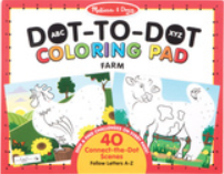 Coloring pad - 40 connect-the-dot scenes follow letters A-Z - Farm themed; red border