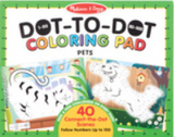 Coloring pad - 40 connect-the-dot scenes follow numbers up to 100 - Pet themed; green border