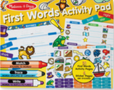 """First Words Activity Pad"" displays a sample of pages and stickers included in the pad and crayon, marker and coloured pencil with small text (hard to read).  Yellow background."