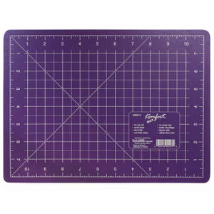 "9"" x 12"" purple cutting mat with grid lines"