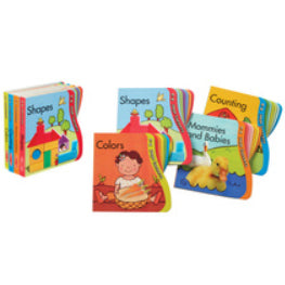"The set of all four books on the left, with ""Shapes"" featuring a picture of a house is on top.  On the right, the books are arranged loosely to display their covers and titles - from front to back, ""Colors"", ""Shapes"", ""Mommies and Babies"", and ""Counting"".  Each book has thick cardboard pages with the right page edges cut into different curves for each page, creating easy to grasp tabs."