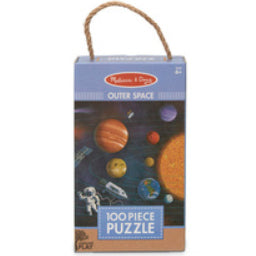 100 piece jigsaw puzzle in rectangle packaging with rope handle (outer space picture)