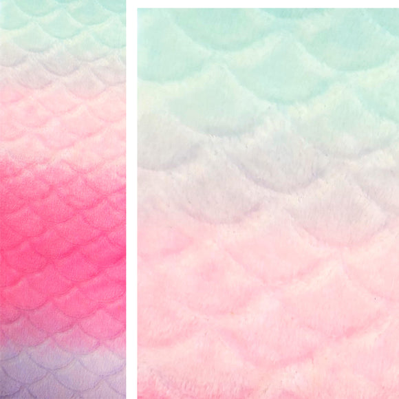 Mermaid Ombre embossed fleece - embossed with a scallop pattern.  On the left, the full width of the fabric showing colour fade from soft green to soft peach to bright pink to soft indigo.  On the right, a close-up of the top showing the enlarged scallop pattern over green to peach