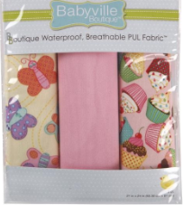 3pc PUL fabric kit from Babyville in packaging (brown, white with brown and pink polka dots, white with pink and brown tossed flower heads)