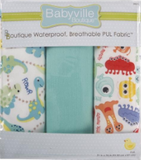 3pc PUL fabric kit from Babyville in packaging (light blue, white with light blue/green/yellow dinosaurs, white with multi coloured happy monsters)