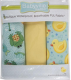 3pc PUL fabric kit from Babyville in packaging (yellow, light blue with yellow rubber ducks and blue bubbles, light blue with puddle pattern and frogs/fish)