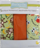 3pc PUL fabric kit from Babyville in packaging (orange, green with brown monkeys and yellow bananas, green with white polka dots and colourful owls)