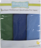 3pc PUL fabric kit from Babyville in packaging (light blue, dark blue, forest green)