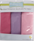 3pc PUL fabric kit from Babyville in packaging (light pink, fuchsia, purple)