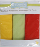 3pc PUL fabric kit from Babyville in packaging (yellow, pale green, red)