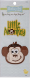 2 Monkeys appliques - Little Monkey in green text with yellow outline, with the 'o' in monkey replaced by a cartoon monkey face; a cut-out cartoon smiling monkey face