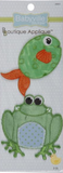 2 Frog/Fish appliques - cut-out round green fish with orange fins, cut-out cartoon frog with green body and pale blue polka-dot belly