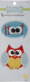 2 Owl/Hoot appliques - sky blue speech bubble with 'Hoot' with owl eyes and beak replacing the 'oo', 'H' and 't' in red; cut-out cartoon owl with red body, yellow polka dot belly and pale blue wings with white outlines