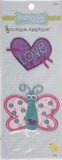 2 Butterfly/Heart appliques - purple cut-out heart with pale turquoise word LOVe angled over it and pink lines extending outside the shape; cut-out butterfly with turquoise body, pink wings with turquoise spots