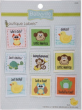 9 pack of Neutral designs - 9 square labels including designs featuring monkeys, owls, ducks, frogs and turtles