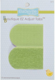 Package of 12 sets of Neutral Colours Babyville Boutique EZ Adjust Tabs. Two red soft green are visible, slightly longer than they are wide, with a rounded end on the left and squared end on the right. The top tab is the hook side of the velcro pair, the lower tab is the loop side.