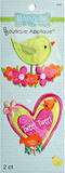 2 Little Birds appliques - cut-out pale green cartoon bird standing in pink and orange flowers; pink and light green heart with words Tweet Tweet and two orange birds and small flowers