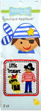 2 Pirates appliques - cut-out cartoon pirate head with blue and white striped bandana and eye patch; square patch with red outline featuring pirate with red striped shirt, pirate hat and blue trousers standing beside treasure chest with parrot and words 'Little Treasure' above