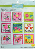 9 pack of Girl designs - 9 square labels including hearts, flowers, and birds