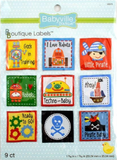 9 pack of 'Boy' designs - 9 square labels including robots and pirates