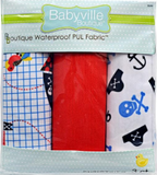 3pc PUL fabric kit from Babyville in packaging (red, white with blue skulls and crossbones and black anchors and pirate hats, white with blue grid lines and pirate ship graphics)